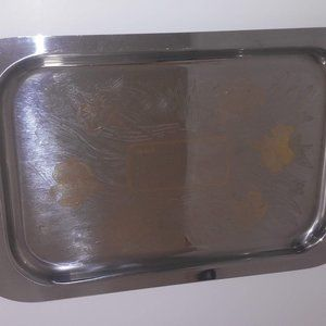 Vintage Oro 24 Kt silver gold plated tray